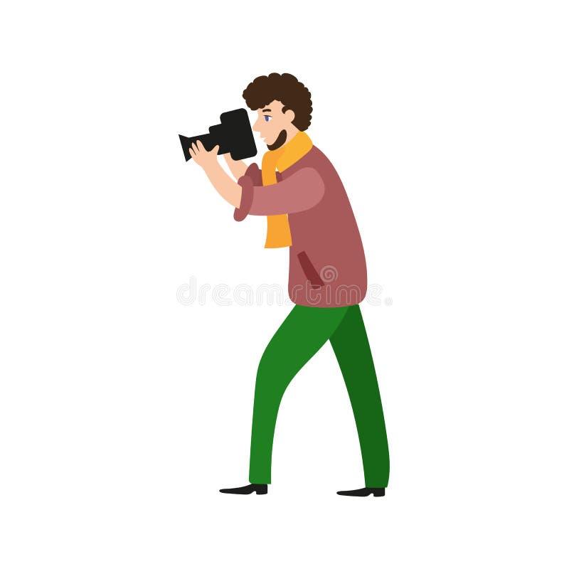 Фотограф, человек камеры, videographer на работе бесплатная иллюстрация
