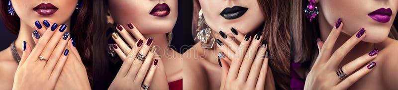 Фотомодель красоты с различным составом и ноготь конструируют нося ювелирные изделия Комплект маникюра 4 стильных взгляда стоковое фото