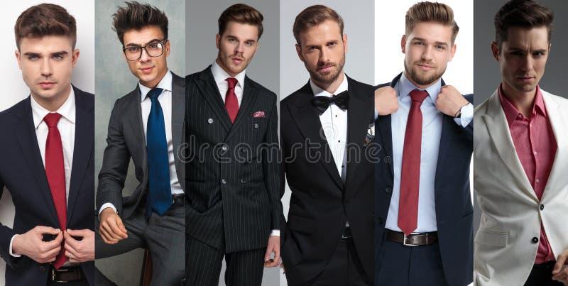 Фотомонтаж портретов 6 элегантных молодых людей стоковые изображения