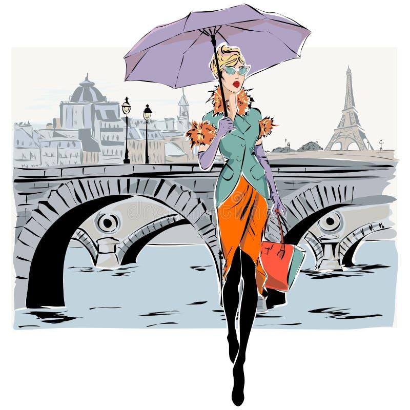 Фотомодели в зиме падения стиля эскиза с предпосылкой города Парижа иллюстрация вектора