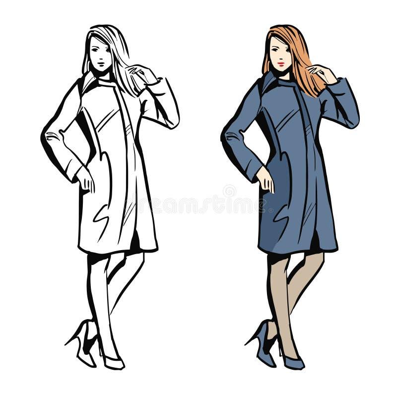 Фотомодель женщин с чертежом стиля эскиза вектора стоковые фотографии rf