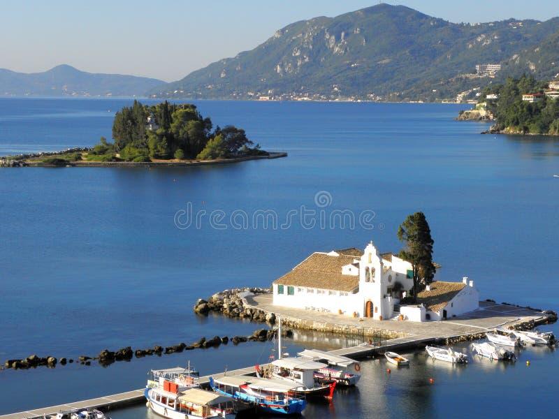 Фотоснимок воздуха, остров Корфу, Греция стоковые изображения rf