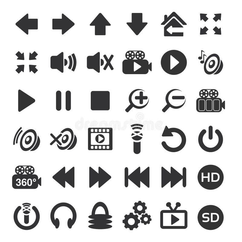 Фото, аудио, видео- значок интерфейса - застегните на белой предпосылке бесплатная иллюстрация