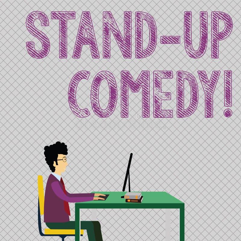 Схематический показ сочинительства руки стоит вверх комедия Фото дела showcasing шуточный стиль в котором комедийный актер выполн иллюстрация вектора
