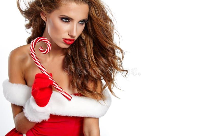 Фото девушки рождества santa стоковые изображения rf