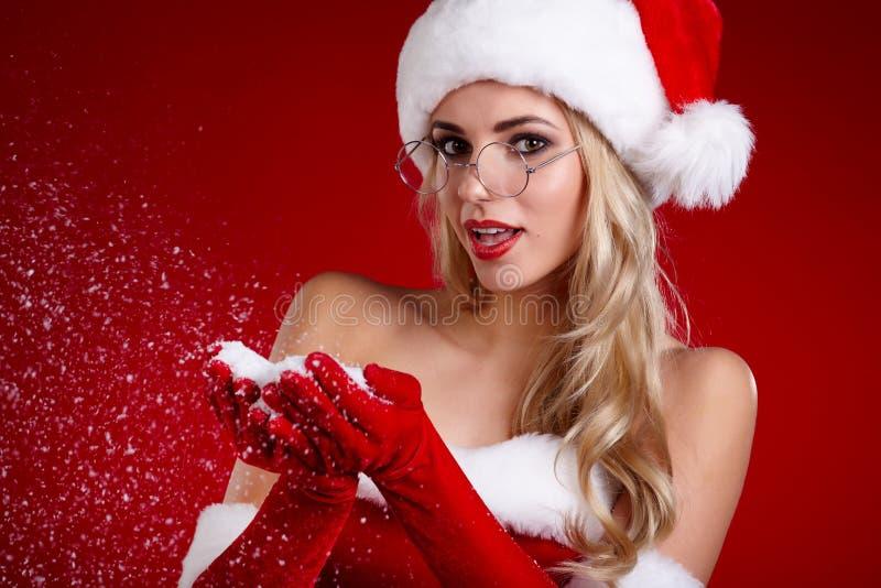 Фото девушки рождества santa стоковое изображение
