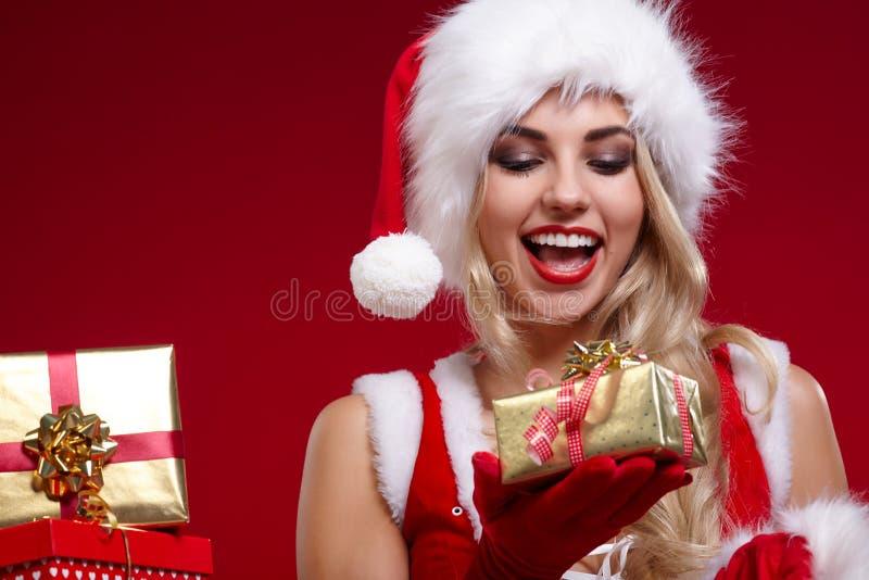 Фото девушки рождества santa стоковая фотография rf