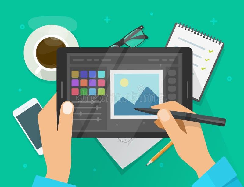 Фото или графический редактор на иллюстрации вектора планшета, плоский экран планшета графиков мультфильма с дизайном или редакти иллюстрация вектора