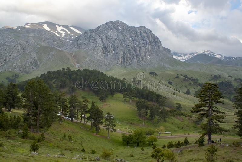 Фото концепции перемещения Гора Dedegul Dedegol Isparta/Турция стоковое фото rf