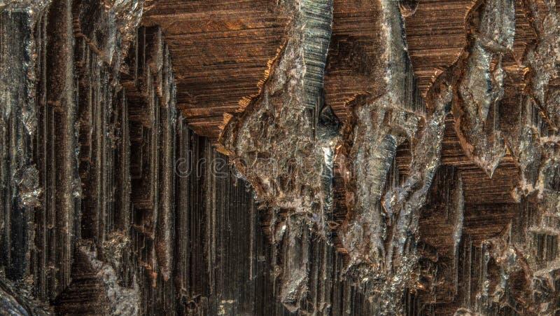 Фото макроса кристалла пирита Штабелированное изображение стоковые изображения