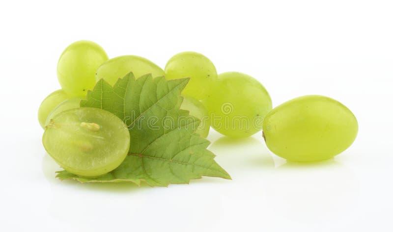 Фото некоторых виноградин при листья изолированные на белизне стоковая фотография rf