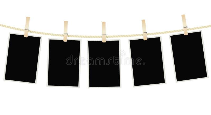 Фото обрамляет смертную казнь через повешение на веревочке с зажимками для белья бесплатная иллюстрация