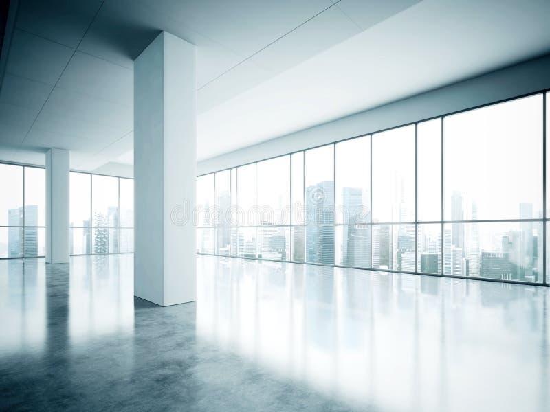 Фото офиса открытого пространства в современном здании Пустой внутренний стиль просторной квартиры с конкретным полом и панорамны стоковые изображения