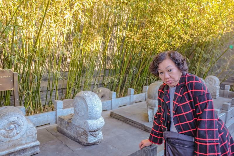 Фото портрета азиатских старших женщин путешественника с красивым цветком на Nanlouguxiang старая зона части Пекин стоковая фотография