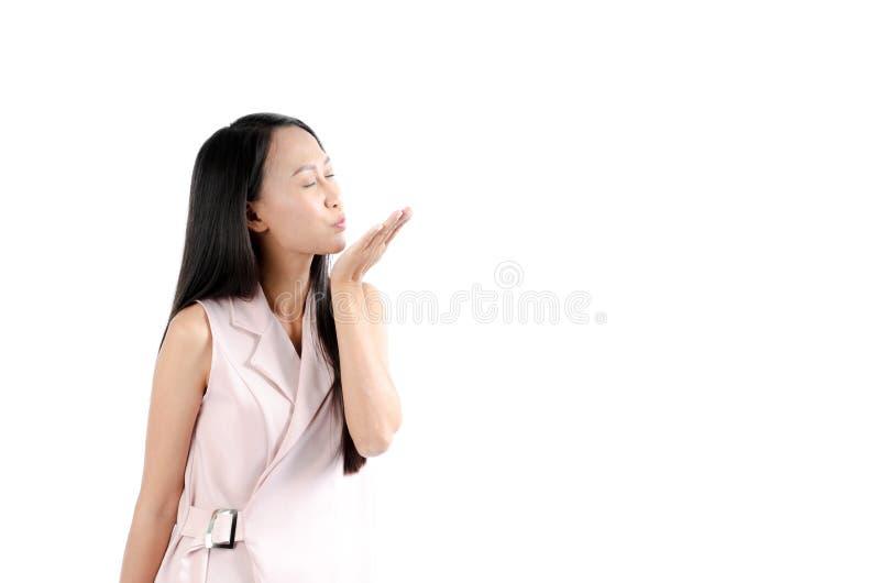 Фото портрета азиатской женщины с прекрасной стороной выражения и близкими глазами стоковое изображение