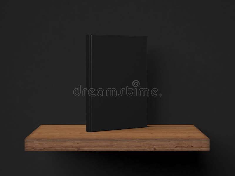 Фото пустых черных книг на деревянной полке 3d представляют иллюстрация штока