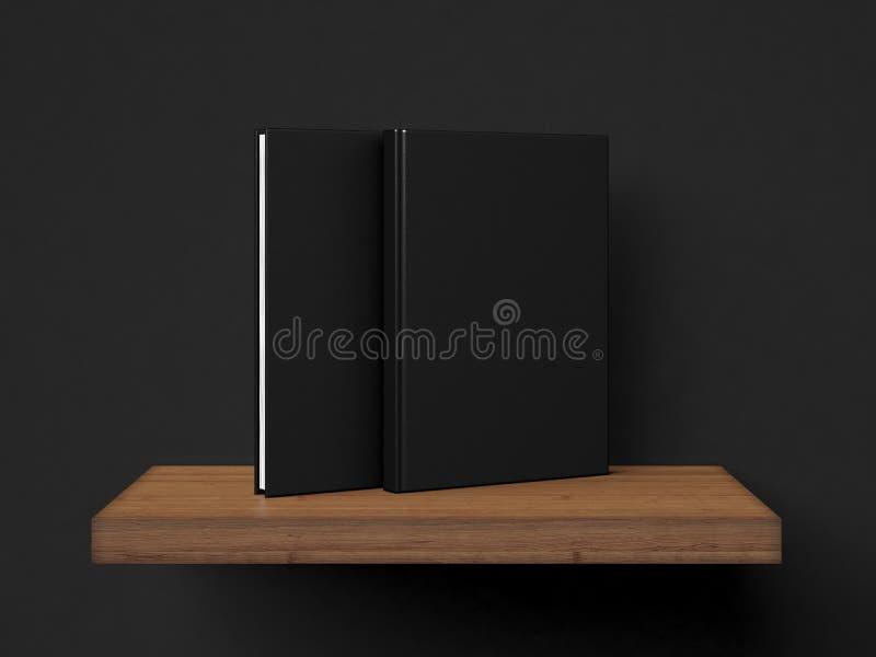 Фото 2 пустых черных книг на деревянной полке 3d представляют иллюстрация вектора