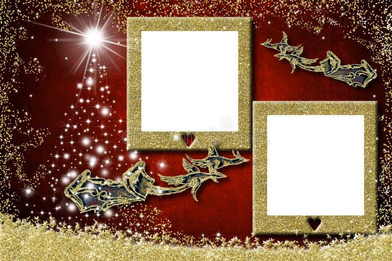 Фото рождества 2 обрамляет поздравительные открытки Сани Санта Клауса иллюстрация штока