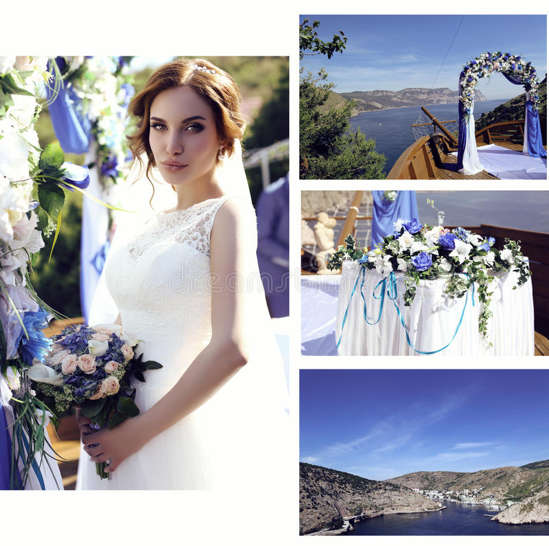Фото свадьбы красивой невесты в роскошных деталях платья и свадьбы стоковые фото