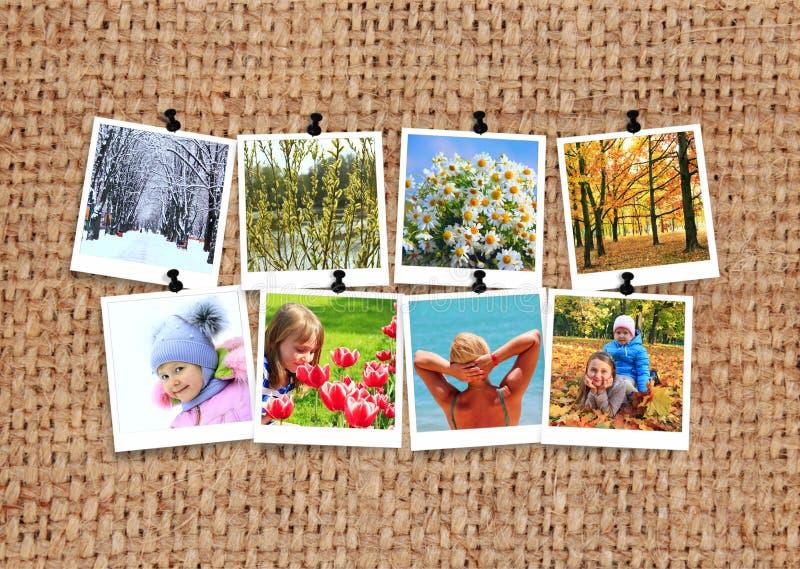 Фото 4 сезонов на увольнении Фотоснимок сезонов с людьми на ткани стоковые изображения rf