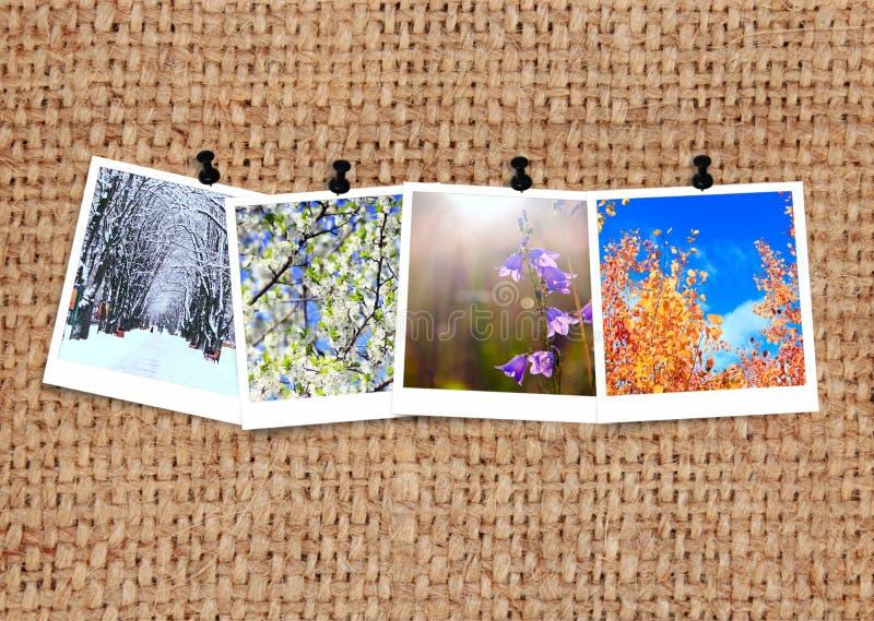 Фото 4 сезонов прикрепленные в увольнение Фотоснимок сезонов на ткани стоковые фотографии rf