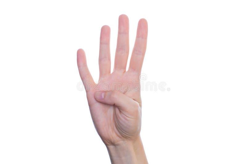 Фото студии крупного плана руки ребенк делает дает шоу 4 пальца I стоковое фото rf