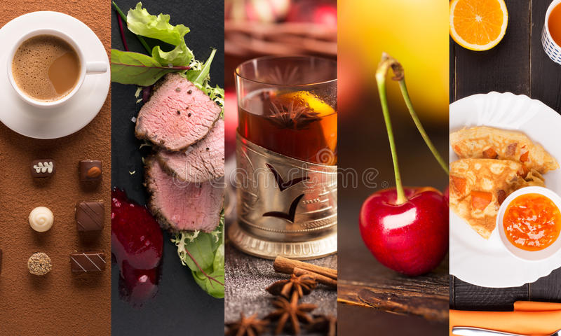 Фото формы коллажа естественной еды стоковое изображение rf