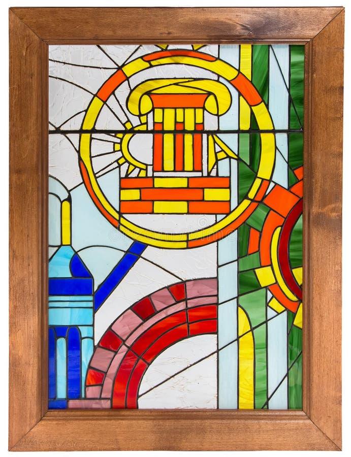 Фото цветного стекла в деревянной рамке стоковые фотографии rf
