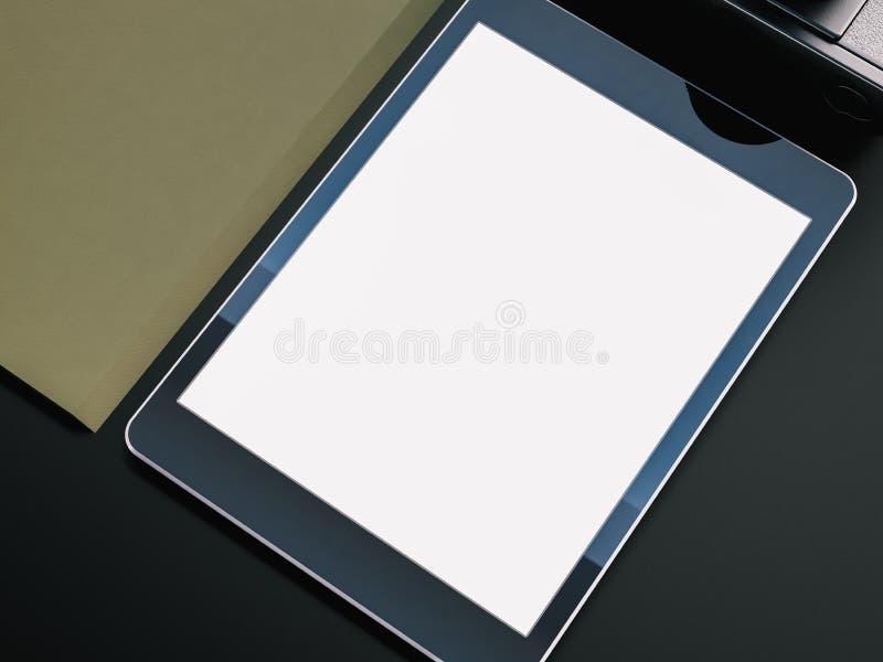 Фото цифровой таблетки с пустым экраном на стоковая фотография rf