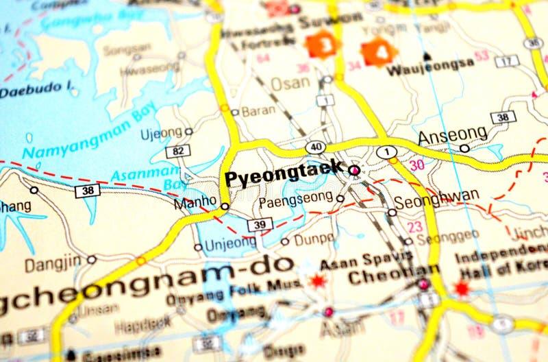 Фото Pyeongtaek на карте стоковые фотографии rf