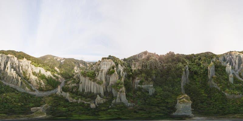 Фото 360 VR, образования башенкы в Новой Зеландии стоковые фотографии rf
