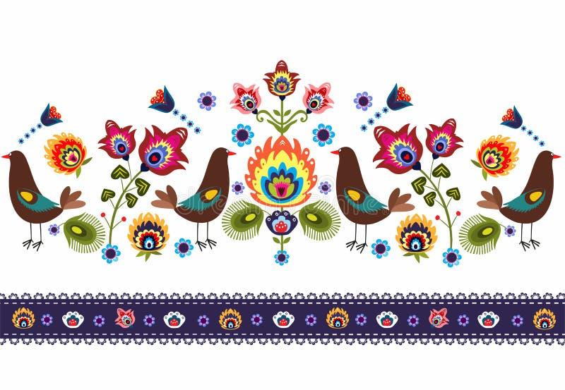 Фольклорная картина с птицами иллюстрация штока