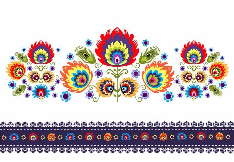 Фольклорная картина с цветками бесплатная иллюстрация