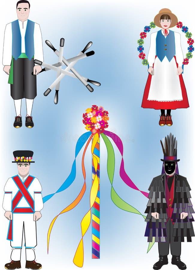 Фольклорные танцоры иллюстрация штока