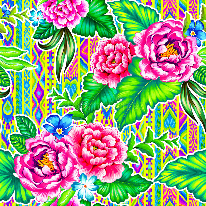Фольклорные цветки с ацтекской предпосылкой иллюстрация штока