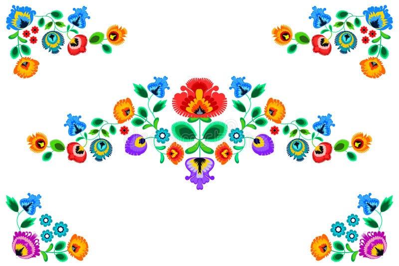 Фольклорный орнамент вышивки с цветками Традиционное польское украшение картины - wycinanka, Wzory Lowickie иллюстрация вектора