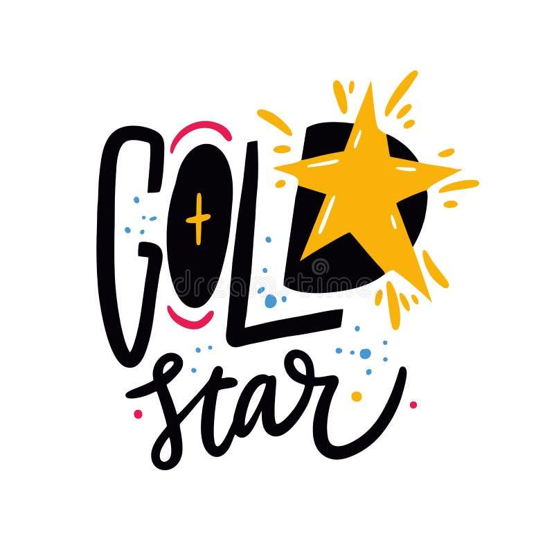 Фраза звезды золота Цитата литерности вектора руки вычерченная белизна изолированная предпосылкой иллюстрация вектора