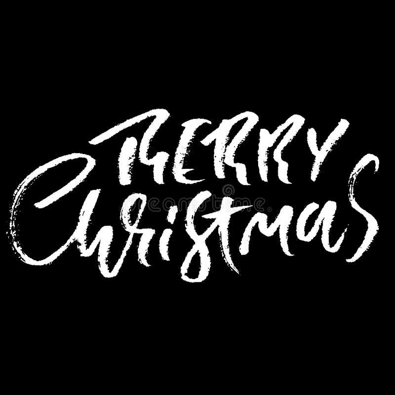 Фраза нарисованная рукой с Рождеством Христовым Современный высушите дизайн литерности щетки Иллюстрация оформления вектора Плака иллюстрация вектора