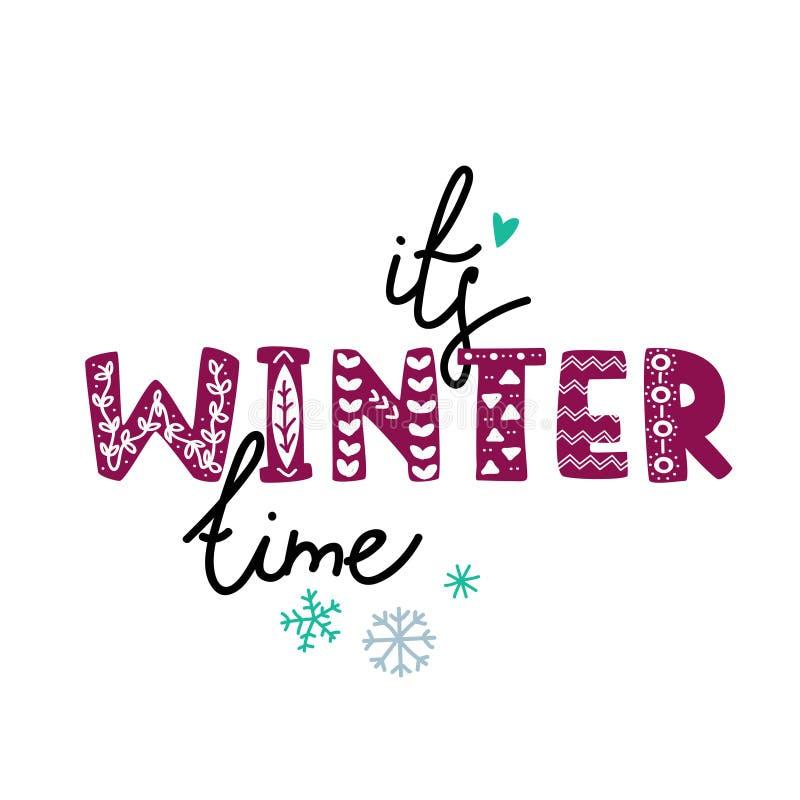Фраза руки зимнего времени вычерченная со смелым шрифтом иллюстрация вектора
