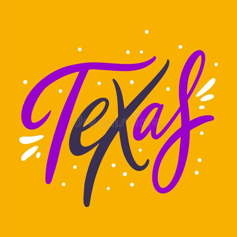Фраза Техаса Литерность вектора руки вычерченная Изолированный на желтой предпосылке иллюстрация штока