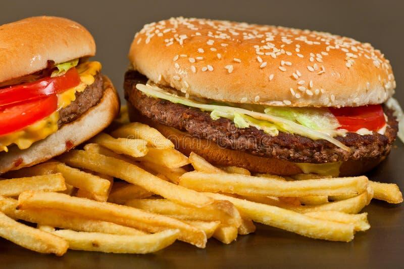 Фраи гамбургера и француза фаст-фуда установленные большие стоковое фото rf
