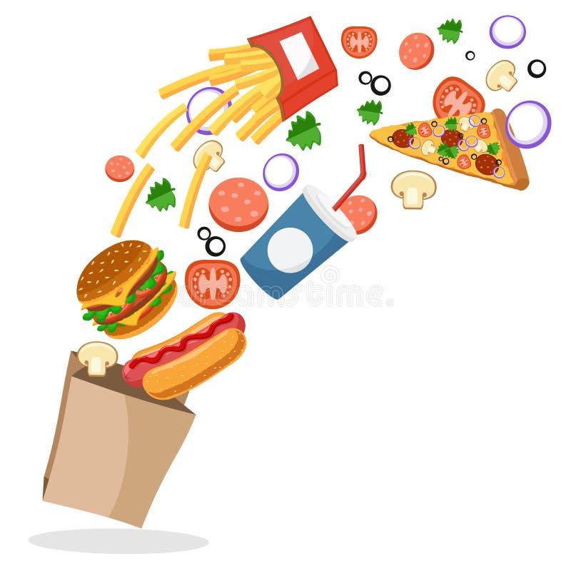 Фраи горячей сосиски, бургера, француза, пицца и овощи летают в пакет иллюстрация вектора