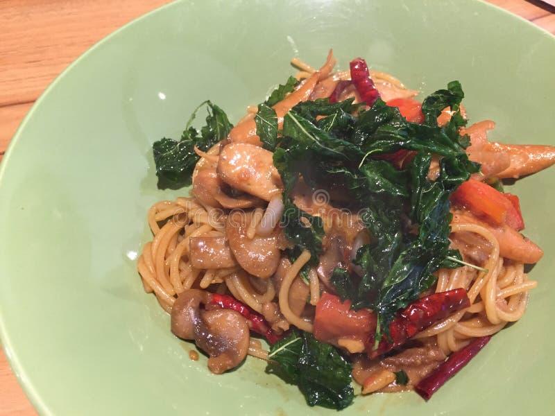 Фрай Stir с спагетти стоковое фото rf