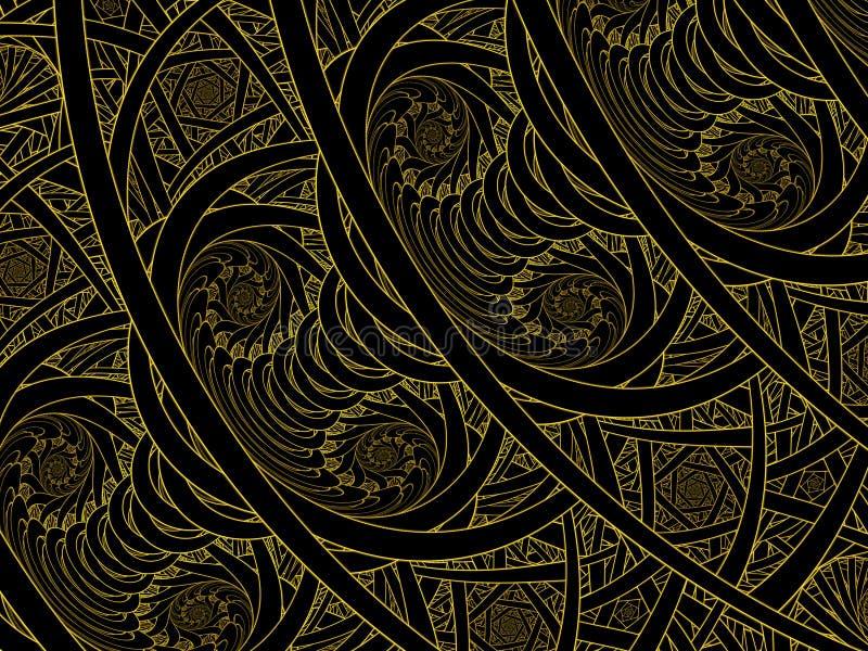 Фракталь пламени двойного Nautilus цветного стекла золотая иллюстрация вектора