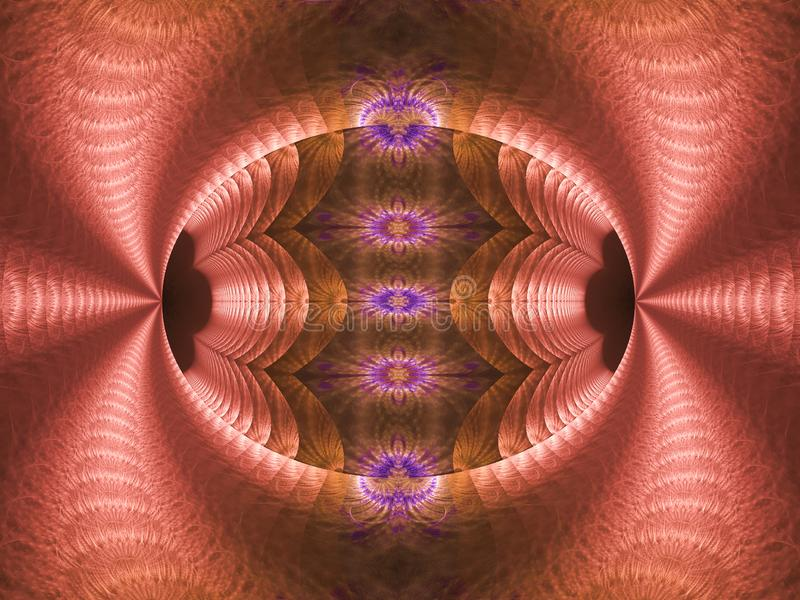 Фракталь пламени пинка, пурпурных, голубых и коричневых яйца иллюстрация вектора