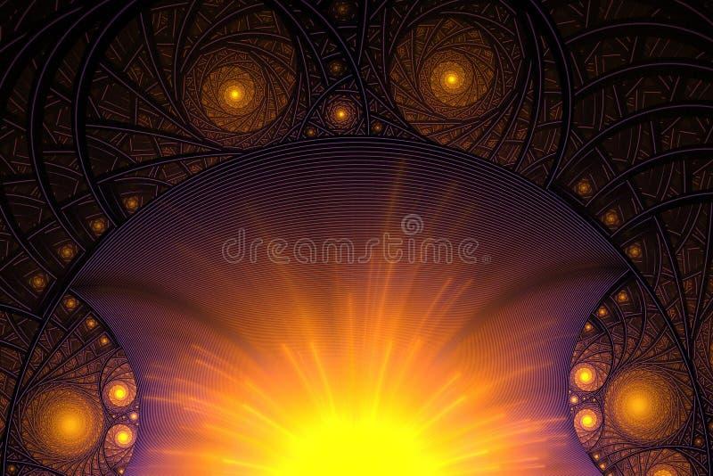 Фракталь с спиралями и кольцами иллюстрация штока