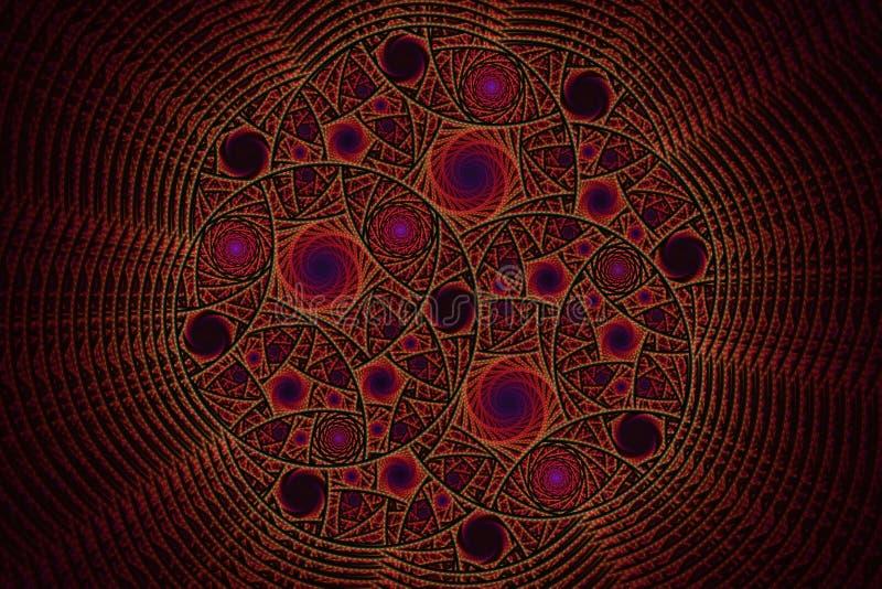 Фракталь с спиралями и кольцами иллюстрация вектора