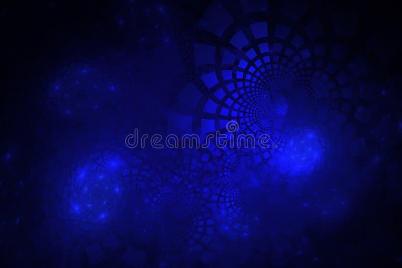 Фракталь с электрическими голубыми плитками изгибая вне в группах иллюстрация вектора