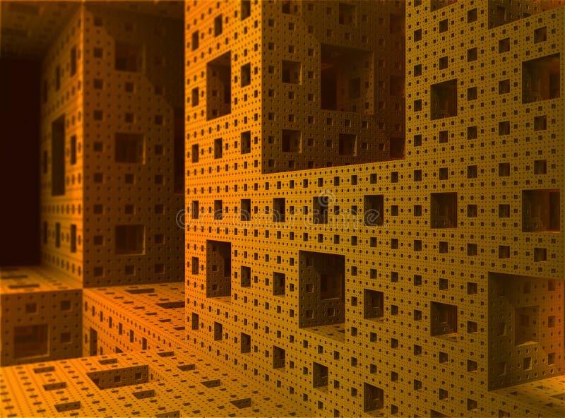 фракталь 3d внутри губки sierpinski предмета иллюстрация вектора