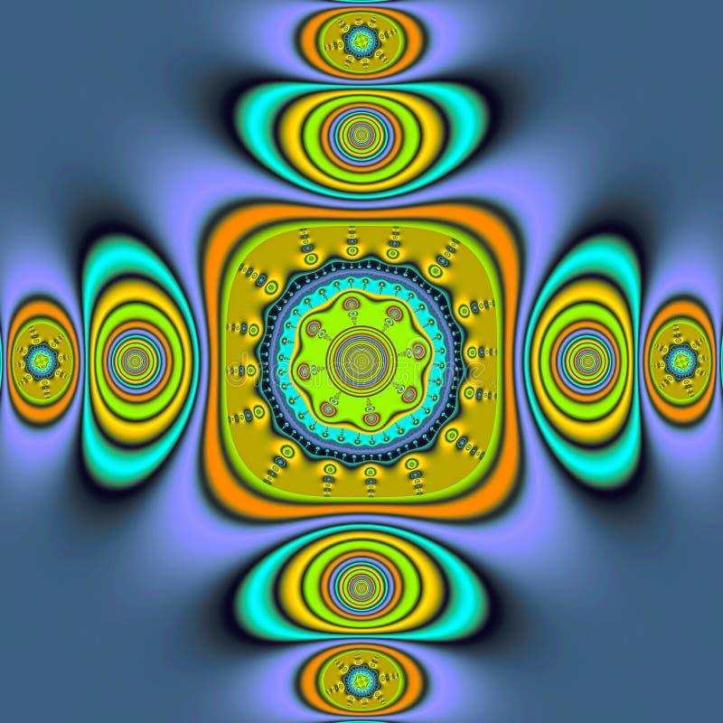 Фракталь: Clockwork Dementional в ярких, ровных цветах иллюстрация штока